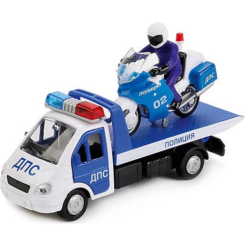 """Набор машинок Технопарк """"Полиция: Газель-эвакуатор и мотоцикл"""" от ТЕХНОПАРК"""