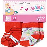 Одежда для куклы Zapf Creation Baby born Носки, 2 пары, красные