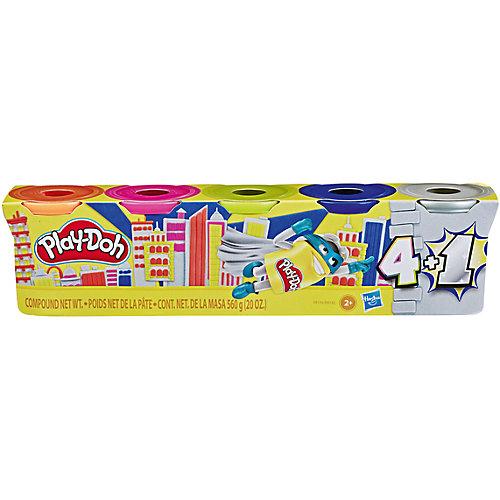 Промо-набор пластилина Play-Doh, 4 + 1 банка серебряного цвета от Hasbro