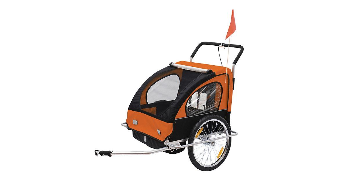 2 in1 Kinderfahrradanhänger / Jogger   Anhänger Fahrradanhänger Kinder Radanhänger orange/schwarz | Kinderzimmer > Spielzeuge > Kinderfahrräder | HOMCOM
