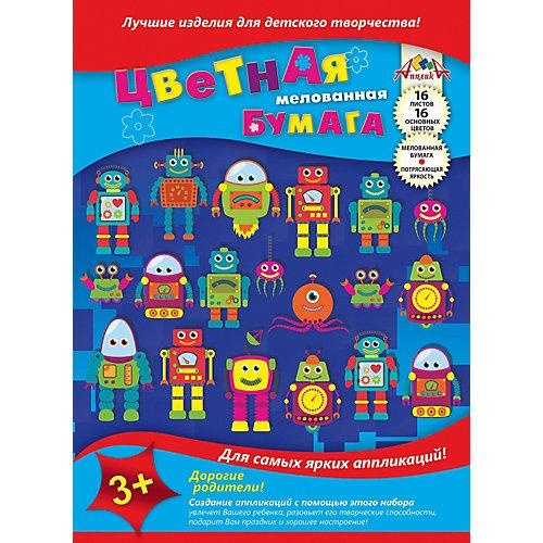 """Цветная мелованная бумага Апплика """"Роботы"""", 16 листов от АппликА"""