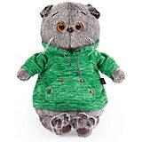 Мягкая игрушка Budi Basa Кот Басик в зеленой толстовке с карманом-кенгуру, 19 см