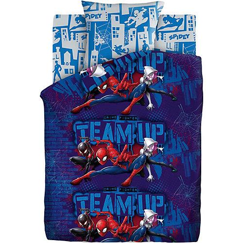 Детское постельное белье 1,5 сп Непоседа «Человек Паук. Пауки» - синий