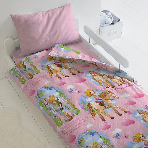 Детское постельное белье 1,5 сп Непоседа «Девочка и лошадка» - розовый от Непоседа