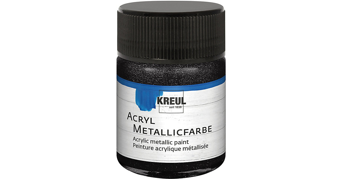 Acryl Metallicfarbe Schwarz 50 ml Glas