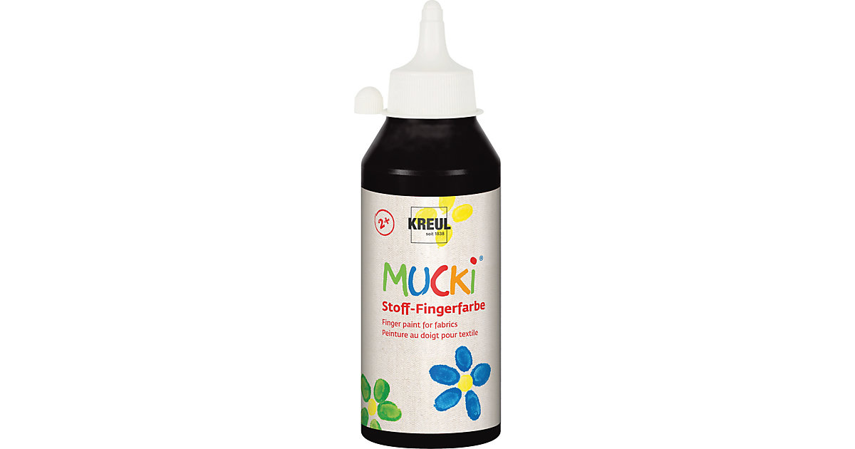 MUCKI Stoff-Fingerfarbe Schwarz 250 ml Flasche