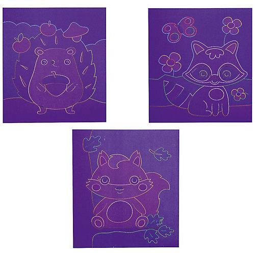 "Набор для творчества Bondibon ""Цветная гравюра: енот"", 3 шт от Bondibon"