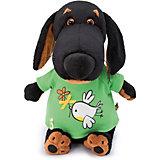 """Мягкая игрушка Budi Basa Собака Ваксон в футболке с принтом """"Птичка с цветочком"""", 25 см"""