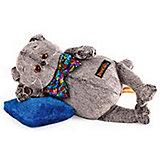 Мягкая игрушка Budi Basa Кот Басик в разноцветном банте и с подушкой, 26 см