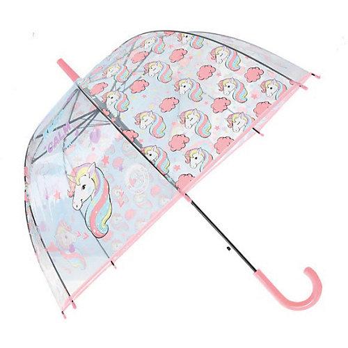 Зонт прозрачный «ЕДИНОРОГ» розовый - розовый от Bradex