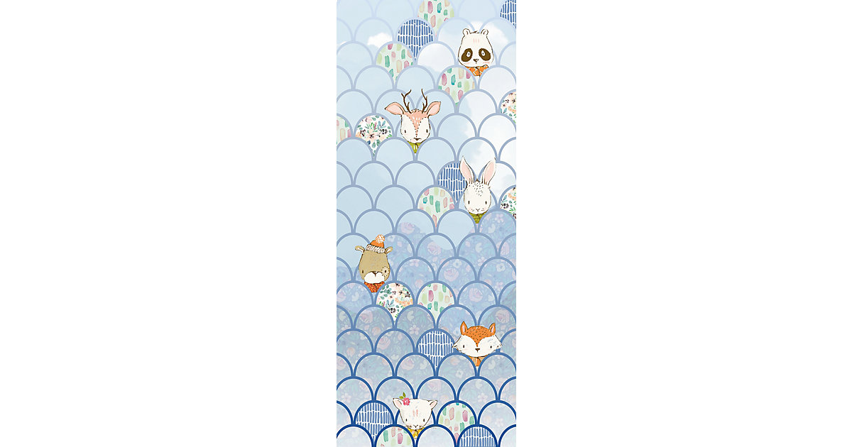 Vlies Fototapete Shelly Bluewave, Panel, 100 x 250 cm blau/weiß