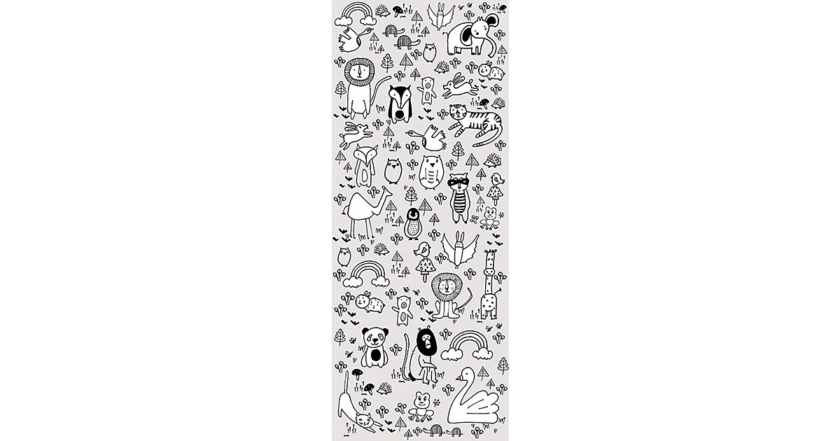 Vlies Fototapete Scribble Park, Panel, 100 x 250 cm weiß