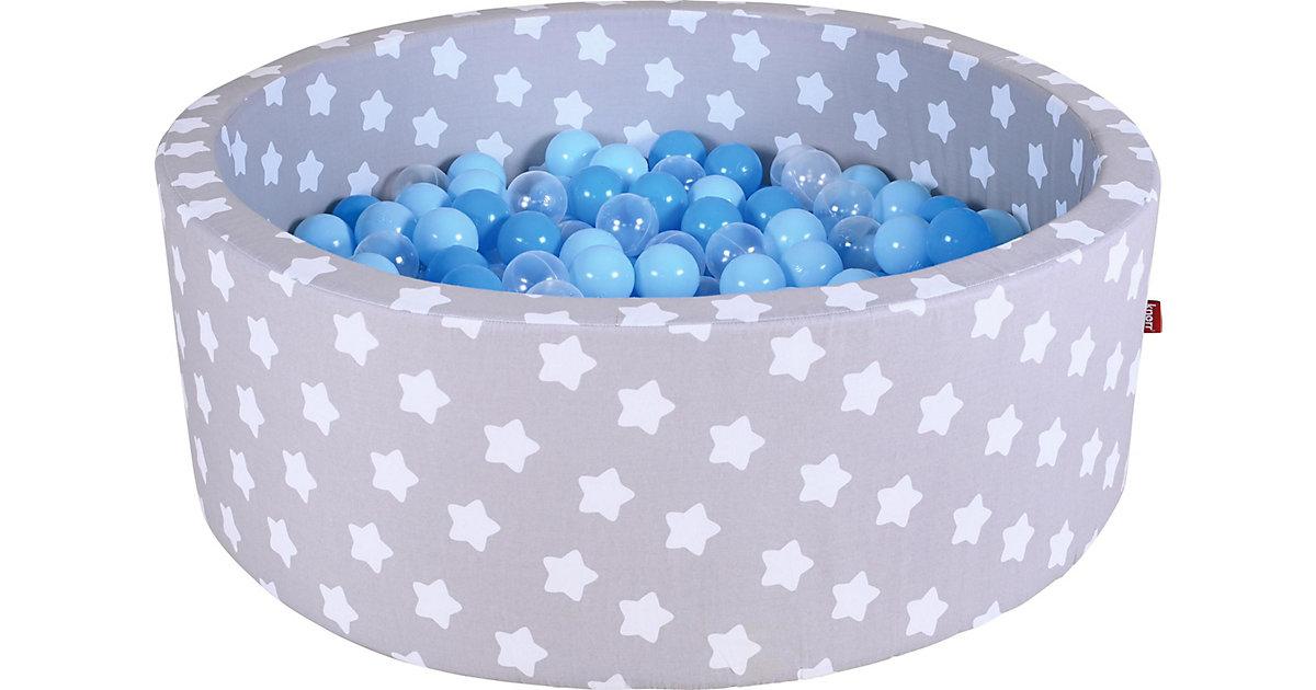 Bällebad mit Sternchen, 300 Bälle, blau/transparent weiß/grau