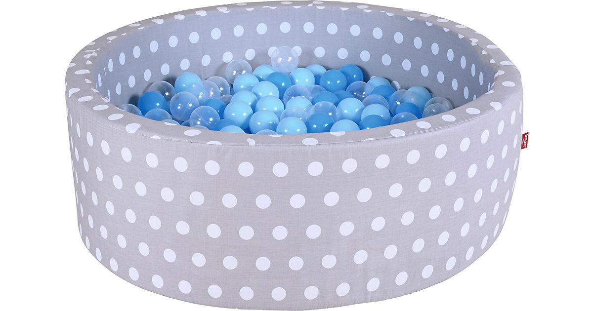 Bällebad mit Pünktchen, 300 Bälle, blau/transparent weiß/grau