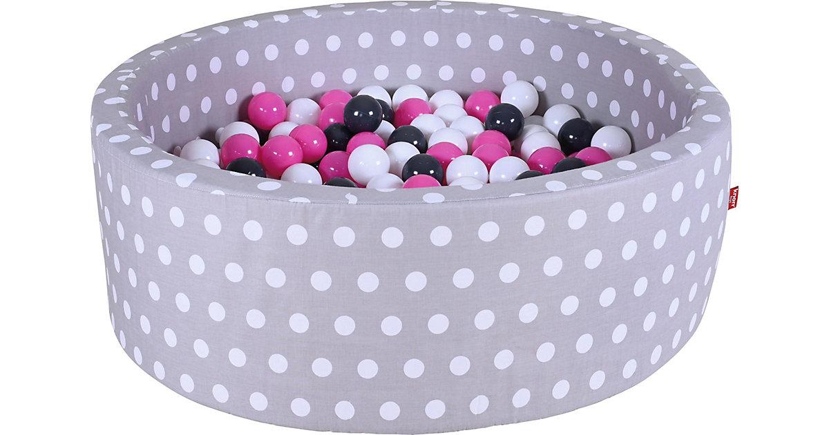 Bällebad mit Pünktchen, 300 Bälle, creme/grau/rosa weiß/grau