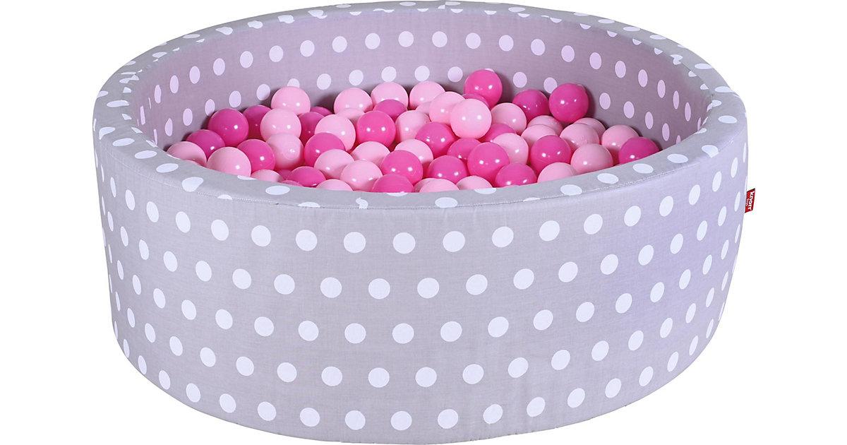 Bällebad mit Pünktchen, 300 Bälle, rosa weiß/grau