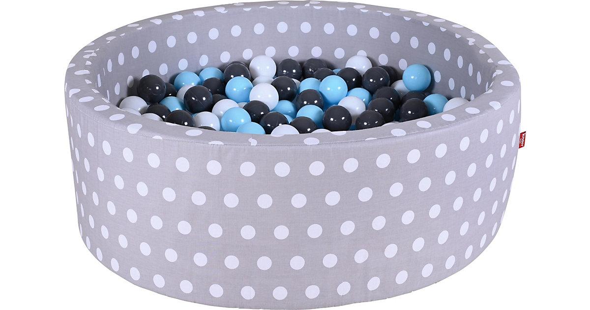 Bällebad mit Pünktchen, 300 Bälle, creme/grau/blau weiß/grau