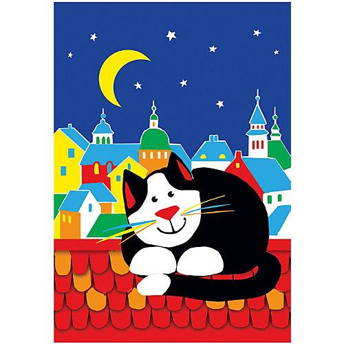 """Объемная аппликация HOBBY TIME """"Кот на крыше"""" из цветной бумаги от hobby time"""