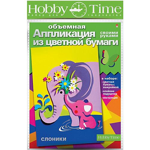 """Объемная аппликация HOBBY TIME """"Слоники"""" из цветной бумаги от hobby time"""