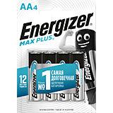 "Батарейки алкалиновые Energizer ""Max Plus"", тип АА/LR6, 1,5 V, 4 шт"