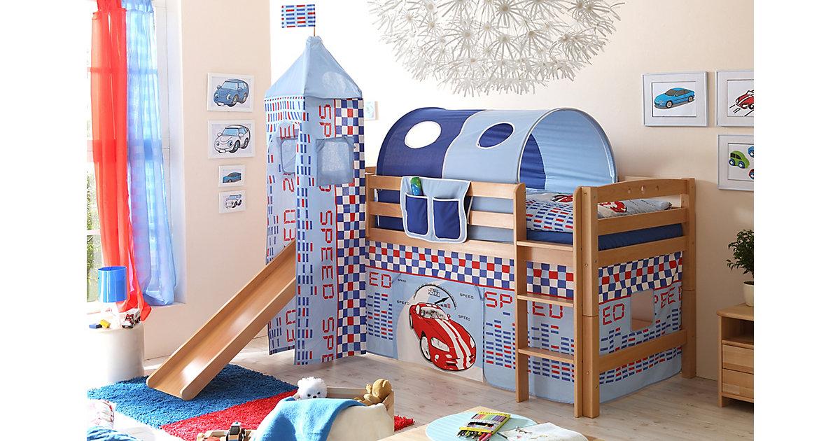 Rutschbett mit Turm Toby R Buche Natur Motiv natur Gr. 90 x 200 | Kinderzimmer | TICAA