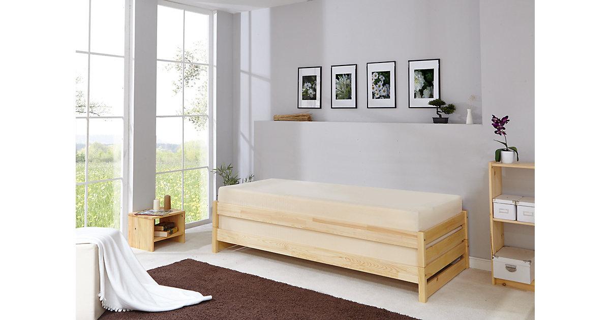 TiCAA Massivholz Stapelliege Stapelbett Gästebett Kiefer mehrfarbig Gr. 90 x 200