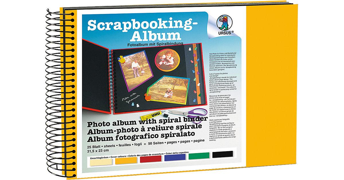 Scrapbook Album,23x31,5cm sonnengelb,Seiten schwarz