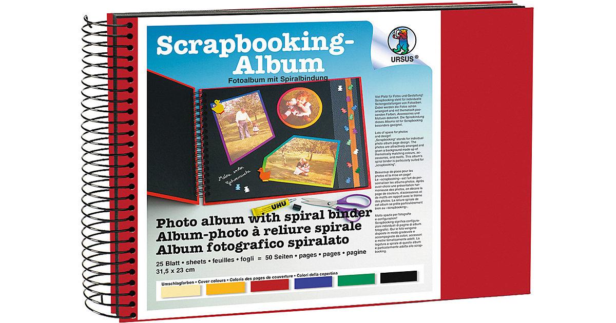 Scrapbook Album,23x31,5cm rubinrot, Seiten schwarz