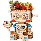 """Деревянный конструктор Wow Idea горшочек для растений """"Робот"""""""