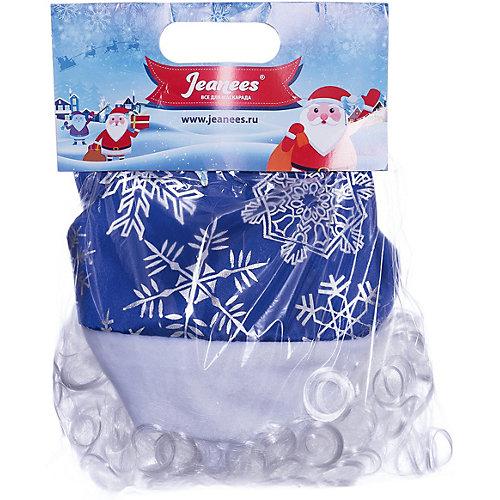 "Колпак с бородой Jeanees ""Новогодний"", синий - синий/белый от Jeanees"