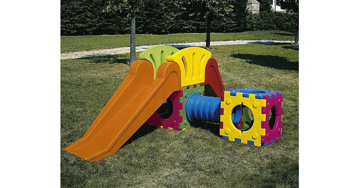 Cubic Toy Rutschenturm mit Treppe, langer Rutsche, Tunnel, Würfel bunt