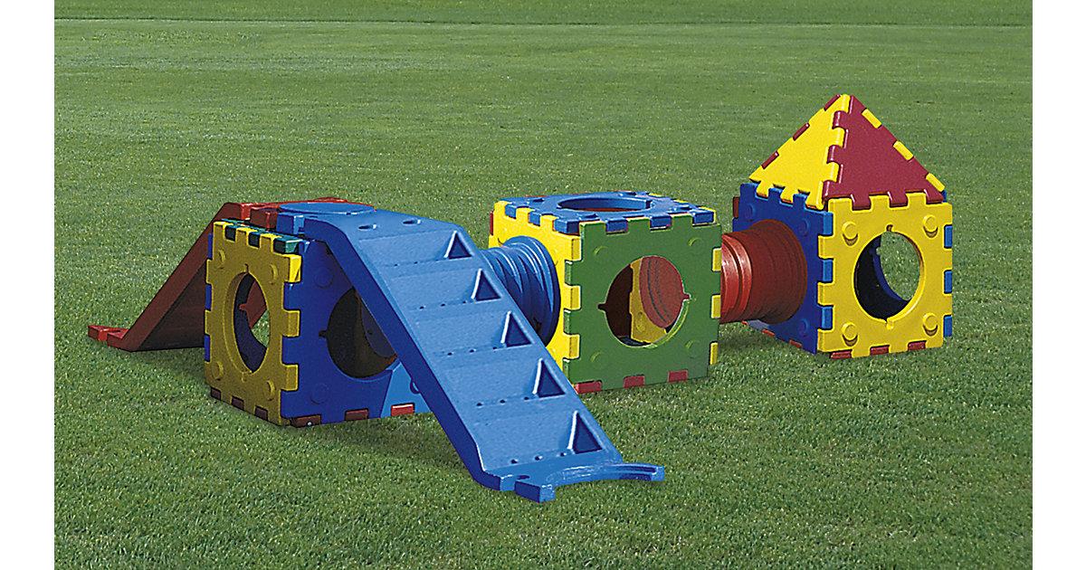 Cubic Toy Rutschenturm mit Treppe, Haus, Würfel und 2 Tunnels bunt