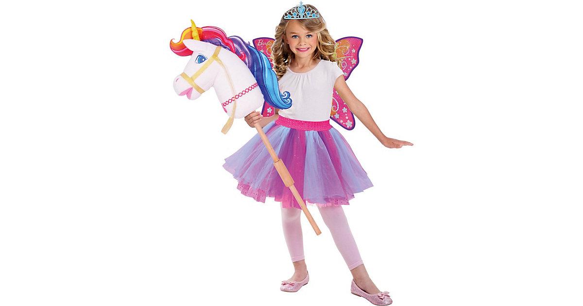 Kostüm Barbie Hobby Regenbogen Einhorn pink-kombi Gr. 128/140 Mädchen Kinder