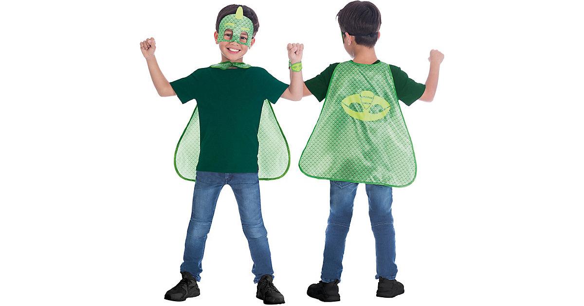 Kinder Umhang-Set PJ Masks Gekko, 3-tlg. grün Gr. one size Jungen Kinder