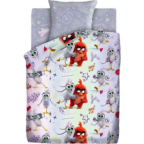 """Детское постельное белье 1,5 сп Angry Birds 2 """"Ред и Сильвер"""", серое"""