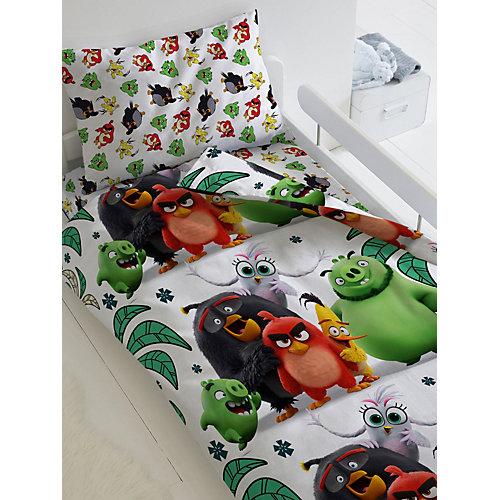 """Детское постельное белье 1,5 сп Angry Birds 2 """"Птичий остров"""", зеленое"""