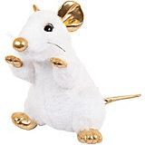 Мягкая игрушка Abtoys Крыса белая с золотыми лапками 25 см