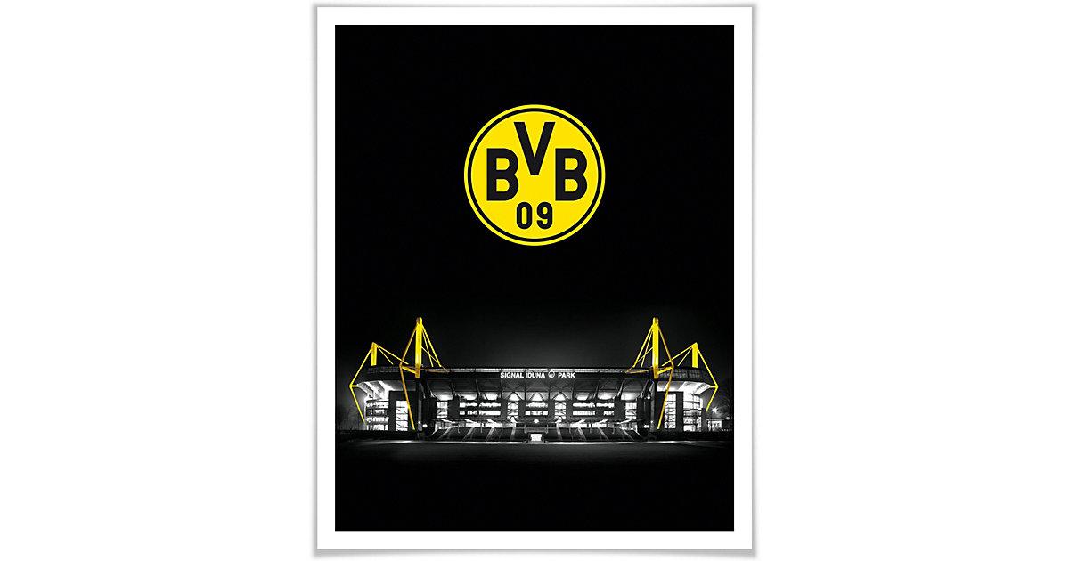 Poster - BVB Signal Iduna Park bei Nacht Emblem mehrfarbig