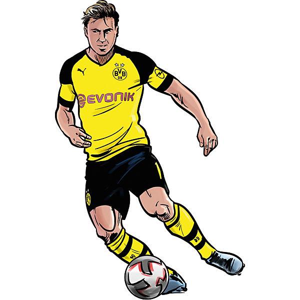 Wandsticker Bvb Comic Spieler Mario Gotze Fussballverein Borussia Dortmund
