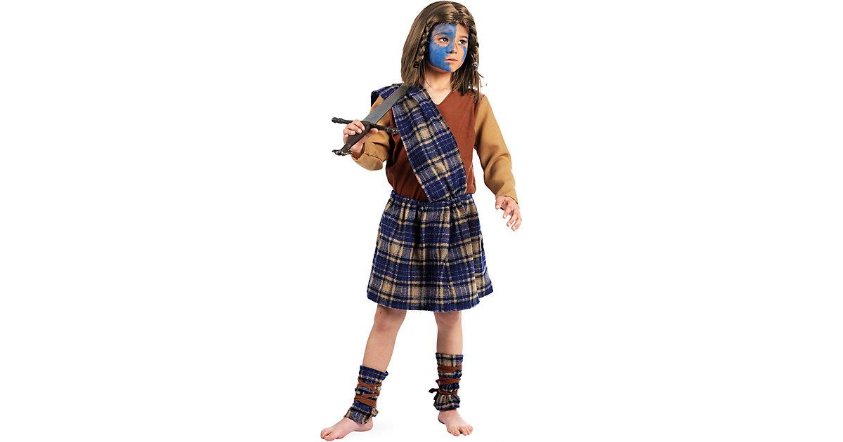 Kostüm Schotte Braveheart, 3-tlg. blau/beige Gr. 116/128 Jungen Kinder