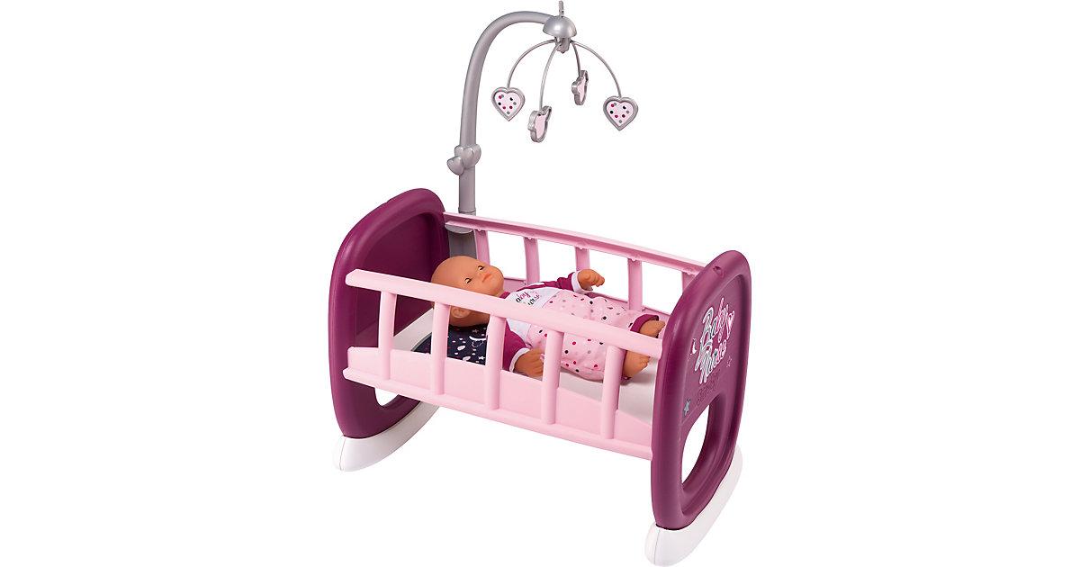 Puppenwiege mit Mobile rosa/lila
