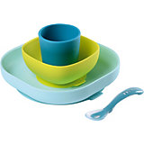 Набор посуды Beaba Silicone Meal Set, голубой