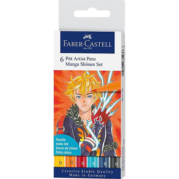 Pitt Artist Pen Tuschestift Manga Shônen, 6 Farben, Faber-Castell