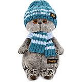 Мягкая игрушка Budi Basa Кот Басик в голубой вязаной шапке и шарфе, 30 см