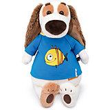 """Мягкая игрушка Budi Basa Собака Бартоломей в футболке с принктом """"Рыбка"""", 33 см"""