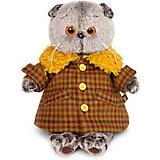 Мягкая игрушка Budi Basa Кот Басик в пальто с желтым меховым воротником, 19 см