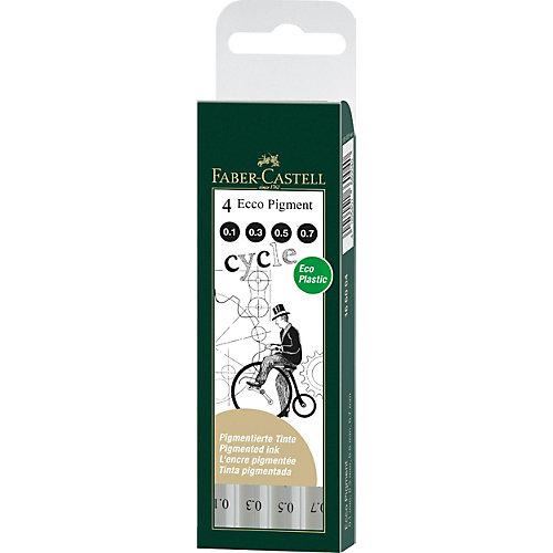 Набор капиллярных ручек Faber-Castell Ecco Pigment, 4 шт,  черные от Faber-Castell