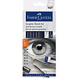 Набор карандашей чернографитных Faber-Castell Goldfaber, 6 шт, ластик, точилка