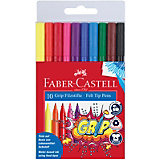 Фломастеры Faber-Castell Grip, 10 цветов, смываемые
