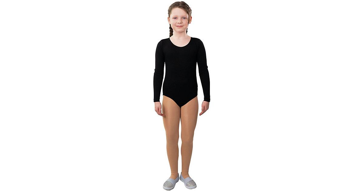Body schwarz Langarm Gr. 116/128 Mädchen Kinder